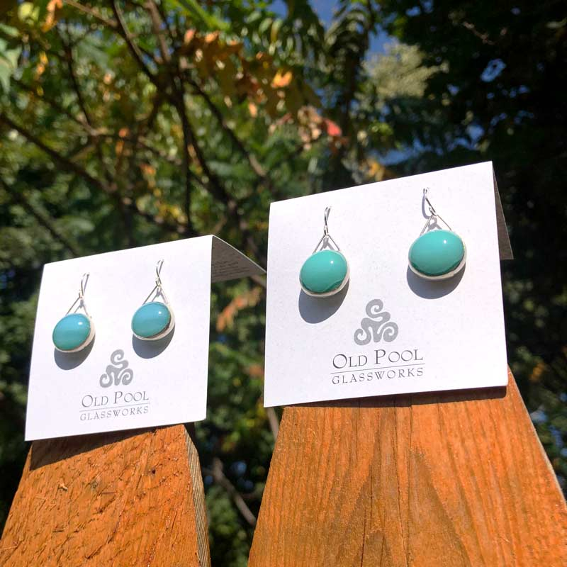 Robin's Egg Glass Earrings