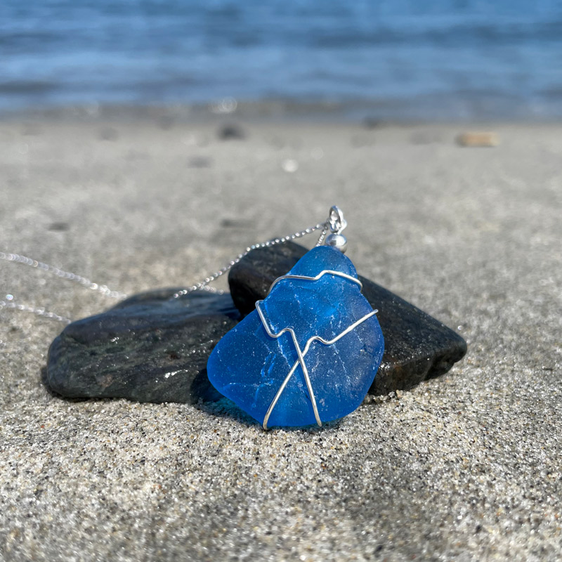 Teal Blue Sea Glass Necklace