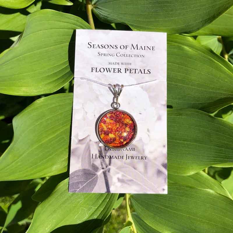Rose, Lily & Daffodil Flower Petal Large Pendant