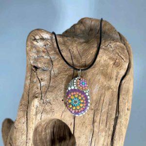 Purple & Peach Fireworks Beach Stone Necklace