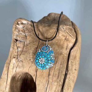 Blue Fireworks Beach Stone Necklace