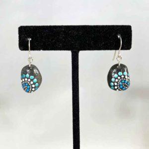 Blue Fireworks Beach Stone Earrings