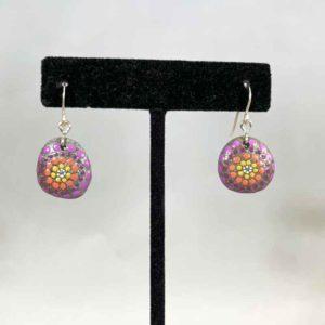 Purple Peach Pop Beach Stone Earrings