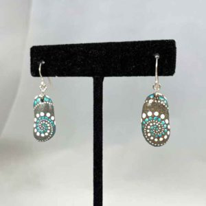 Teal White Wave Beach Stone Earrings