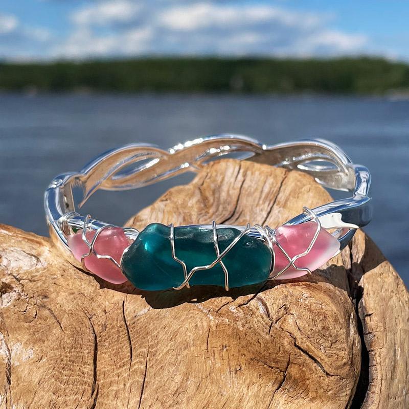 Pink & Deep Teal Sea Glass Bracelet