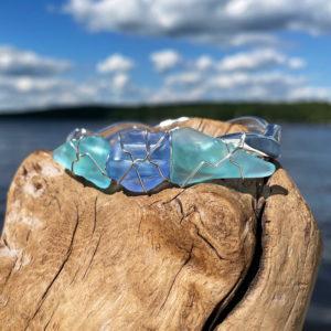 Light Teal & Light Blue Sea Glass Bracelet