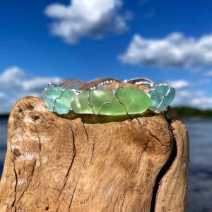 Light Green & Sea Foam Sea Glass Bracelet