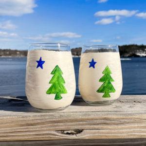 First Maine Flag Stemless Wine Glass
