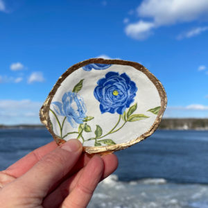 Blue Peony Oyster Shell Ring Dish
