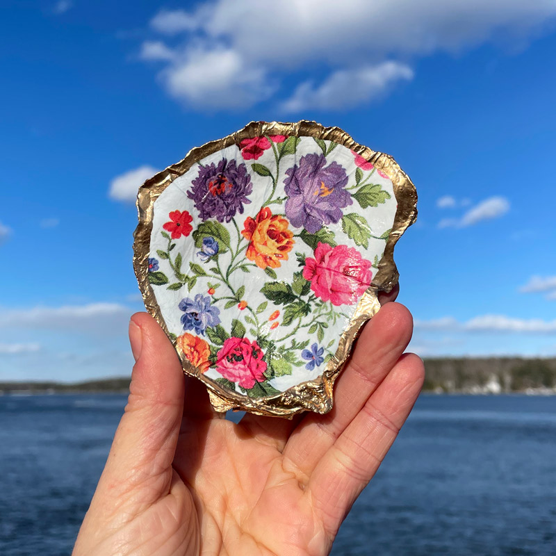 Oriental Poppies Oyster Shell Ring Dish