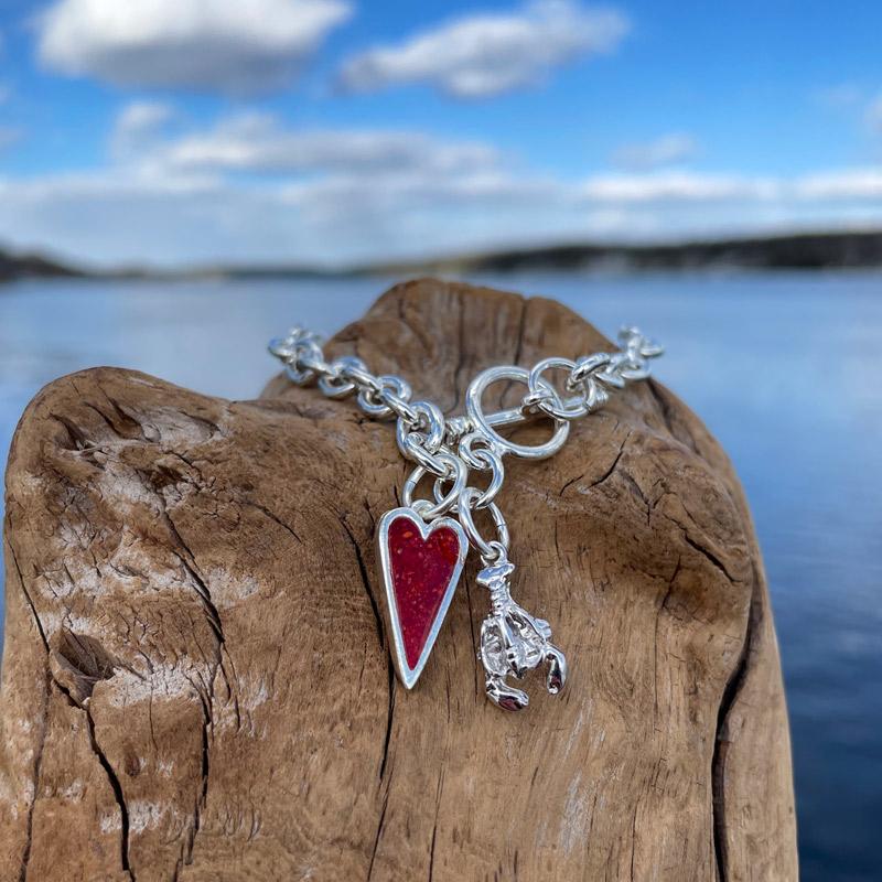 Crushed Lobster Shell Heart Charm Bracelet