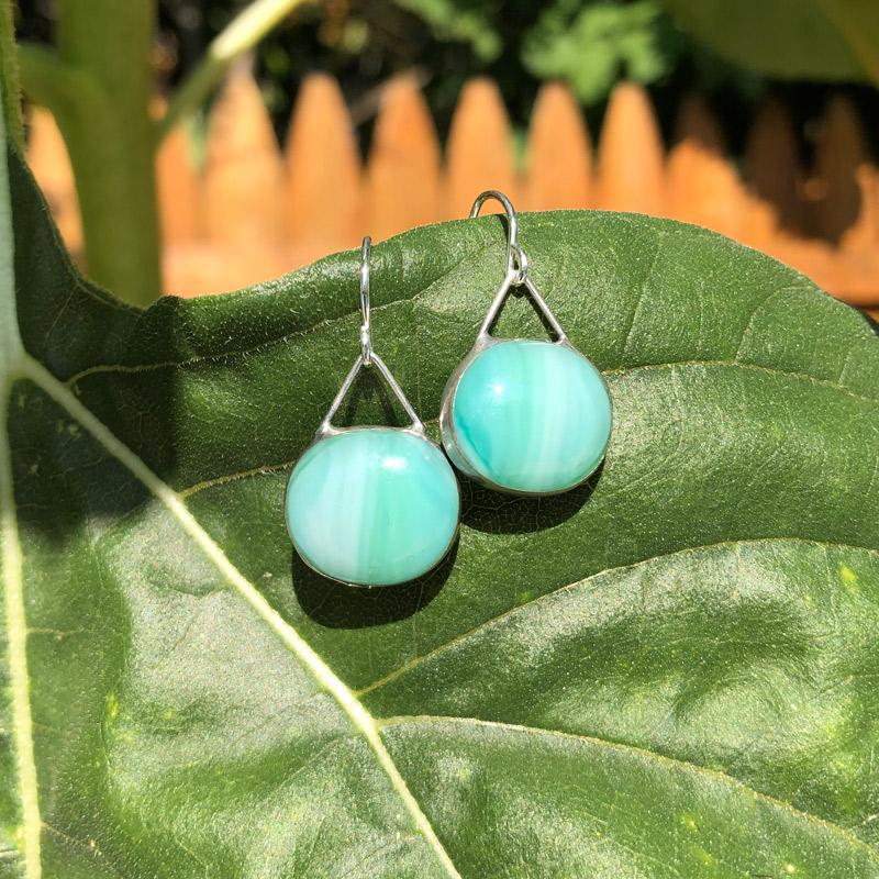 Sea Foam Glass Earrings