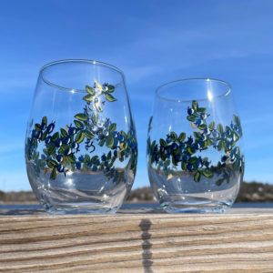Blueberry Stemless Wine Glass