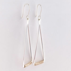Gold Wrapped Triangle Earrings