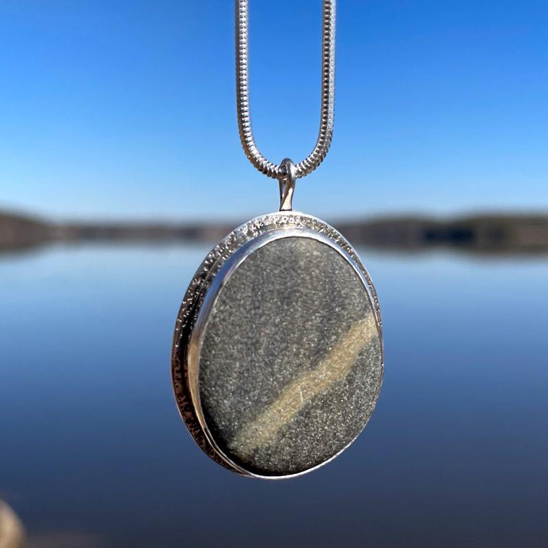 Large Journey Stone Bezeled Pendant on an 18