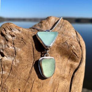 Double Sea Foam Sea Glass Necklace
