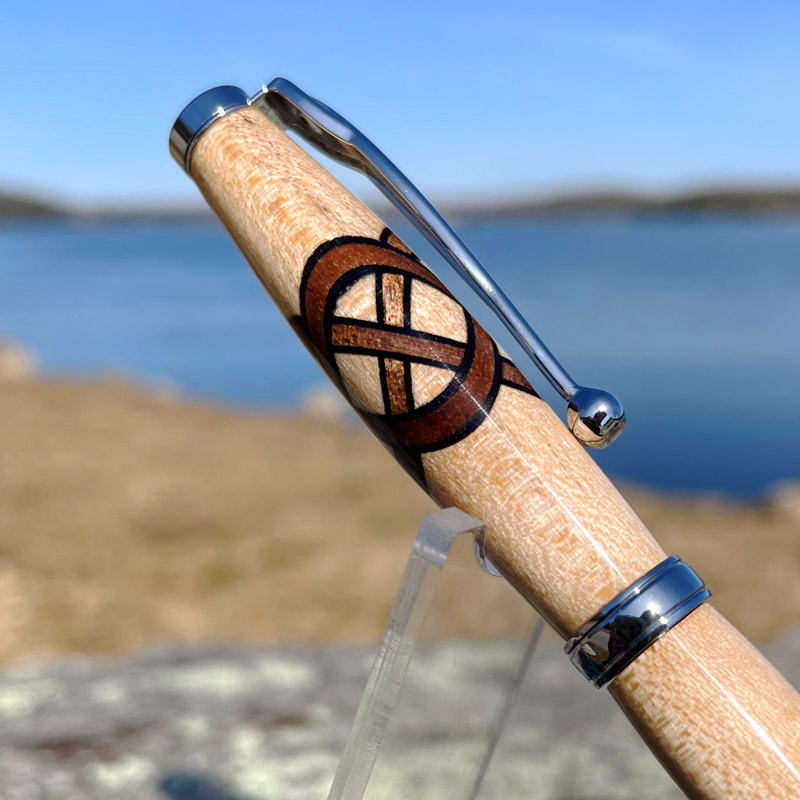 Maine Maple Tree with Walnut Celtic Knot Pen and Chrome Hardware