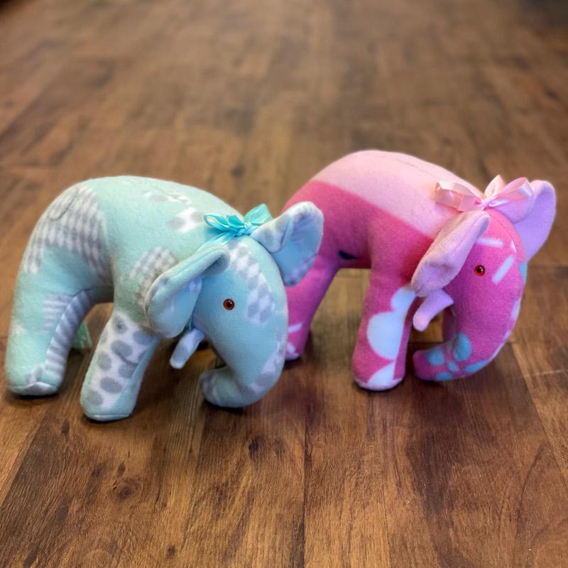 Fleece Stuffed Animals - Elephants