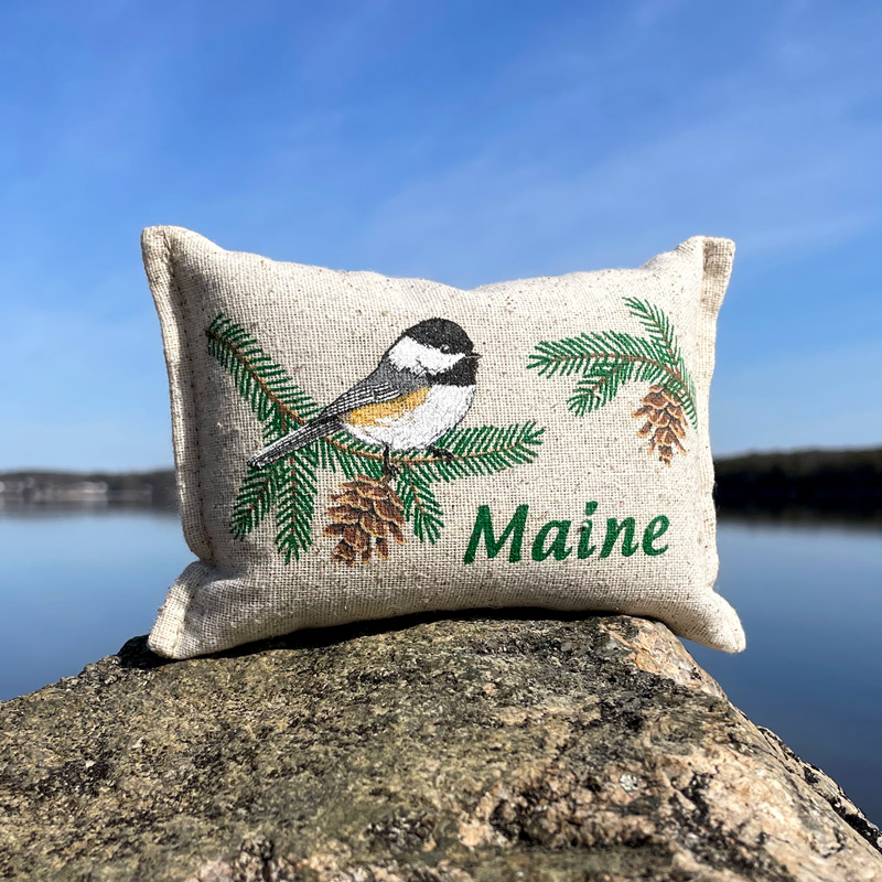 Chickadee on Balsam Bough Maine Balsam Pillow
