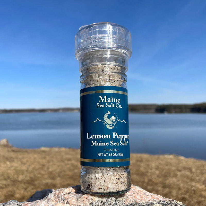 3.6 oz Lemon Pepper Maine Sea Salt Grinder