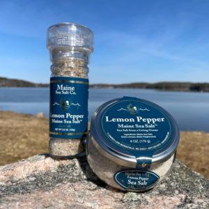 6 oz Lemon Pepper Maine Sea Salt Jar & Grinder