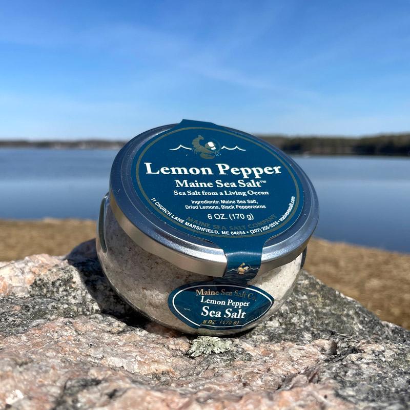 6 oz Lemon Pepper Maine Sea Salt Jar