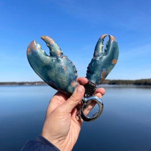 Rusted Blue Sea Lobster Claw Bottle Opener & Stopper