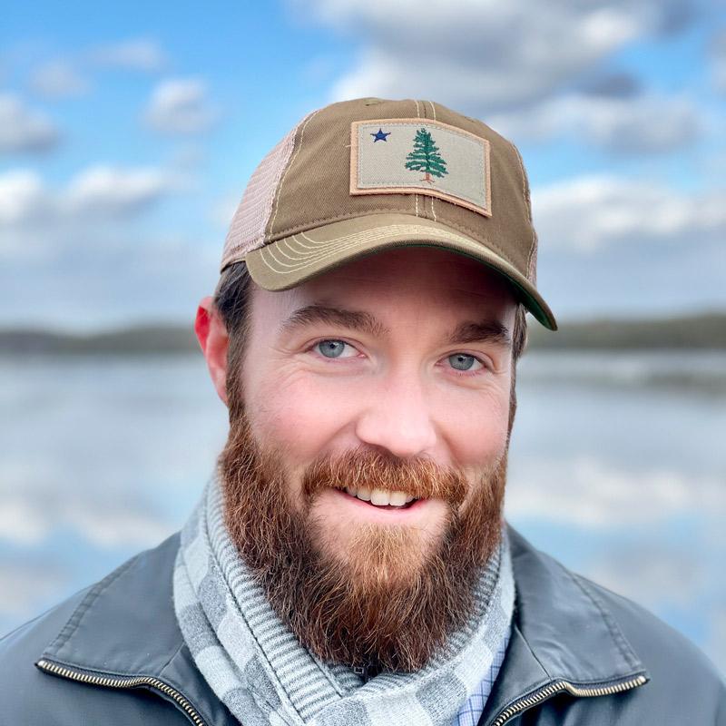 First Maine Flag Trucker Hat - Olive