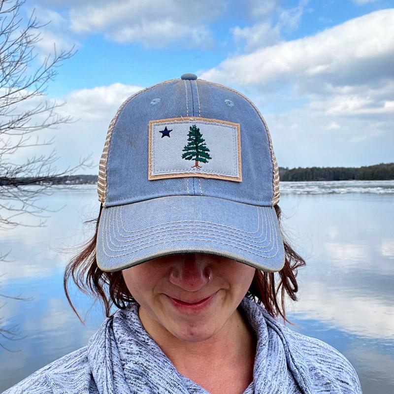 First Maine Flag Trucker Hat - Denim