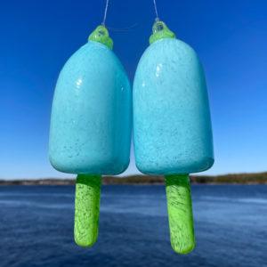 Light Blue Blown Glass Lobster Buoy