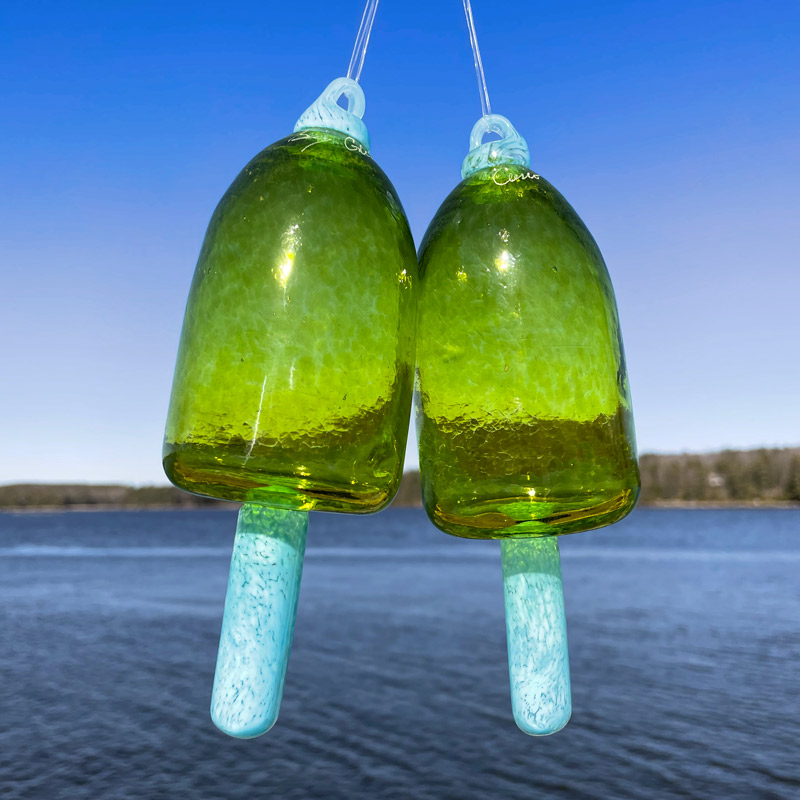 Chartreuse Blown Glass Lobster Buoy with Light Blue Spindle