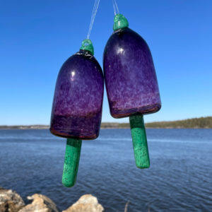 Purple Blown Glass Lobster Buoy with Clover Spindle