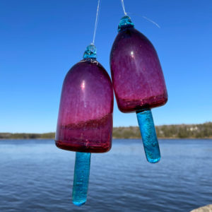 Rose Blown Glass Lobster Buoy