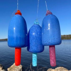 Sky Blue Blown Glass Lobster Buoy
