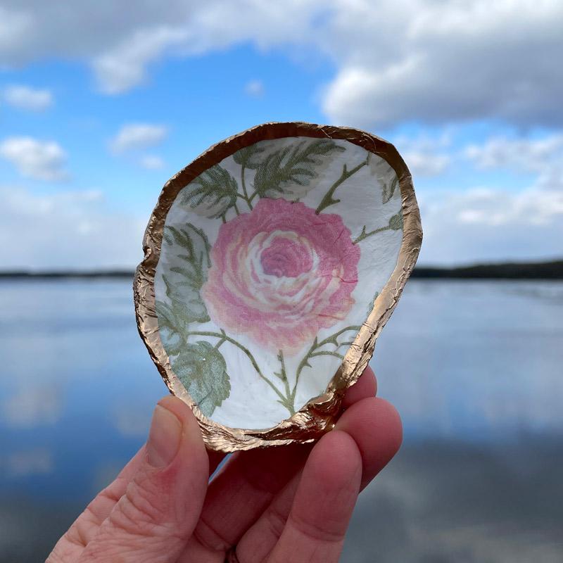 Blush Peony Oyster Shell Ring Dish