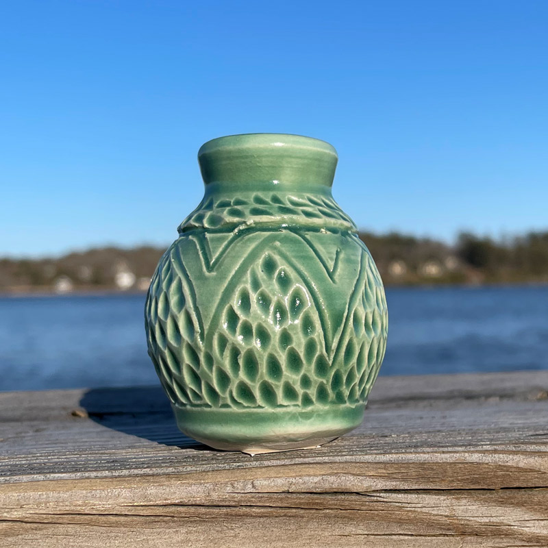Green Carved Tiny Vase by Westport Island Pottery