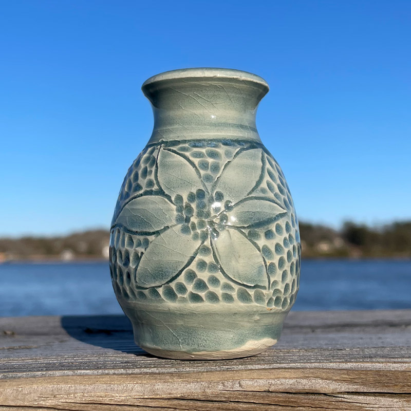 Sea Foam Carved Tiny Vase by Westport Island Pottery
