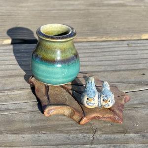 Bud Vase and Birds on a Leaf