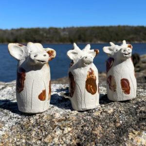 Cow Bud Vase by Westport Island Pottery