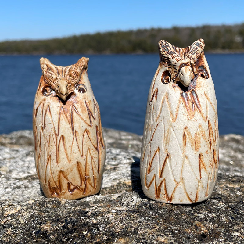 Owl Bud Vase by Westport Island Pottery