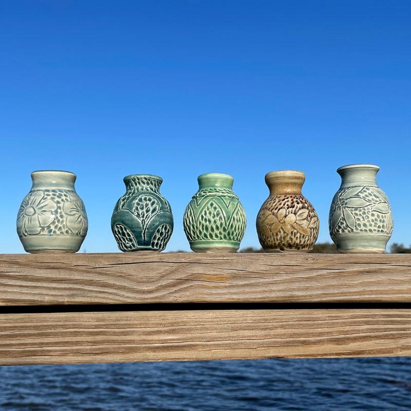 Carved Tiny Vase by Westport Island Pottery