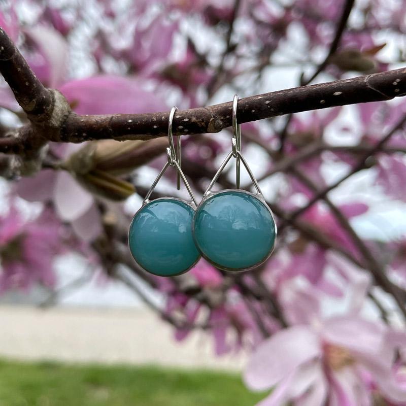 Robin's Egg Old Pool Glass Earrings