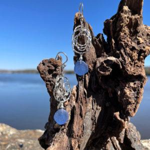 Interlocking Circles Light Blue Sea Glass Earrings