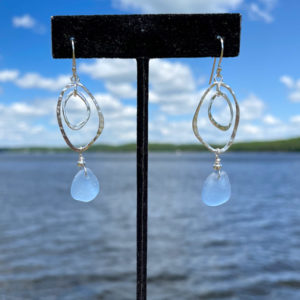 Light Blue Sea Glass Earrings with Double Abstract Circles