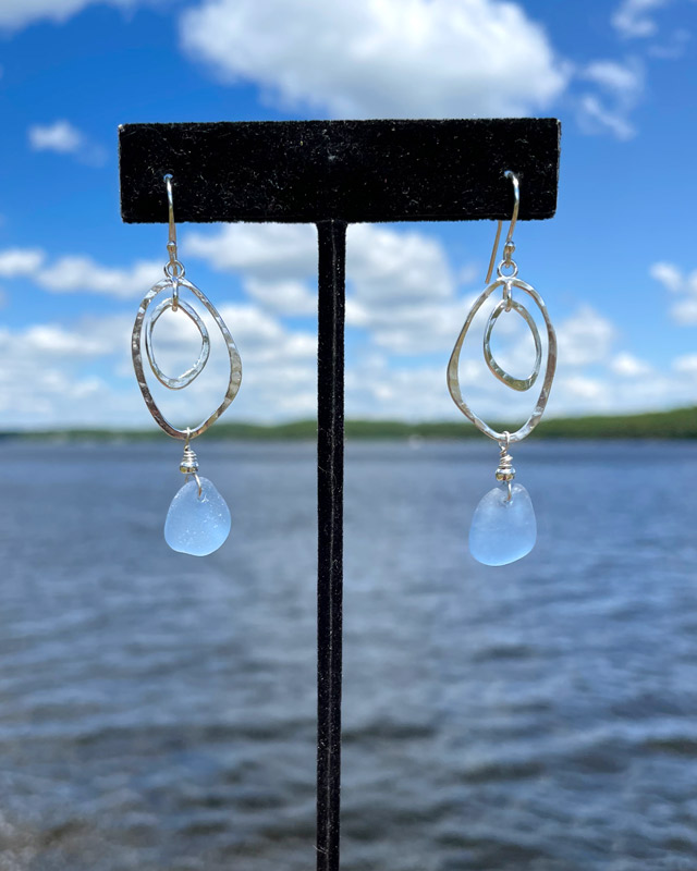 Double Abstract Oval Sea Glass Earrings