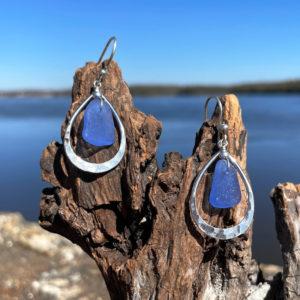 Tear Drop Light Blue Sea Glass Earrings