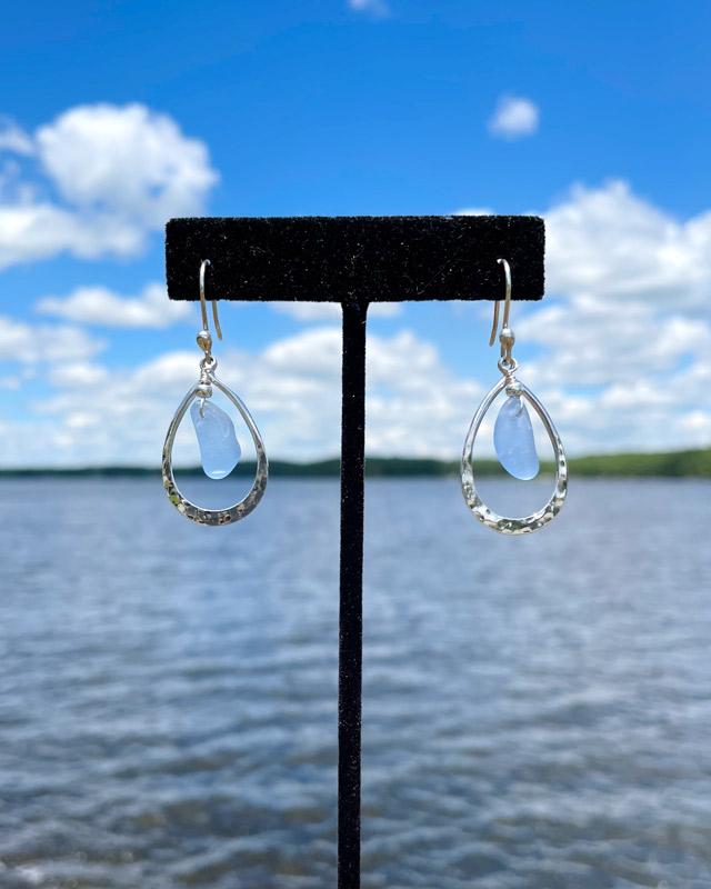 Teardrop Sea Glass Earrings