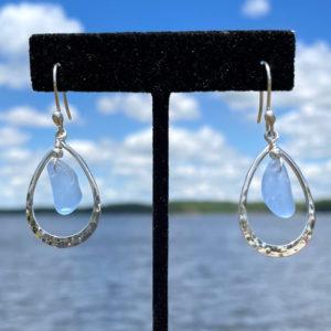 Light Blue Sea Glass Teardrop Earrings