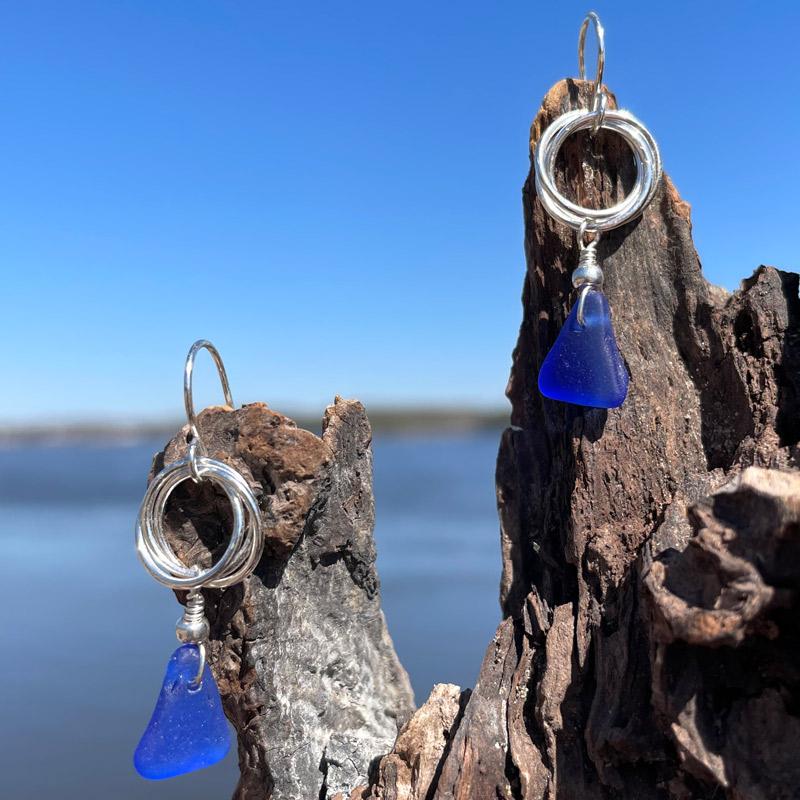 Love Knot Cobalt Blue Sea Glass Earrings