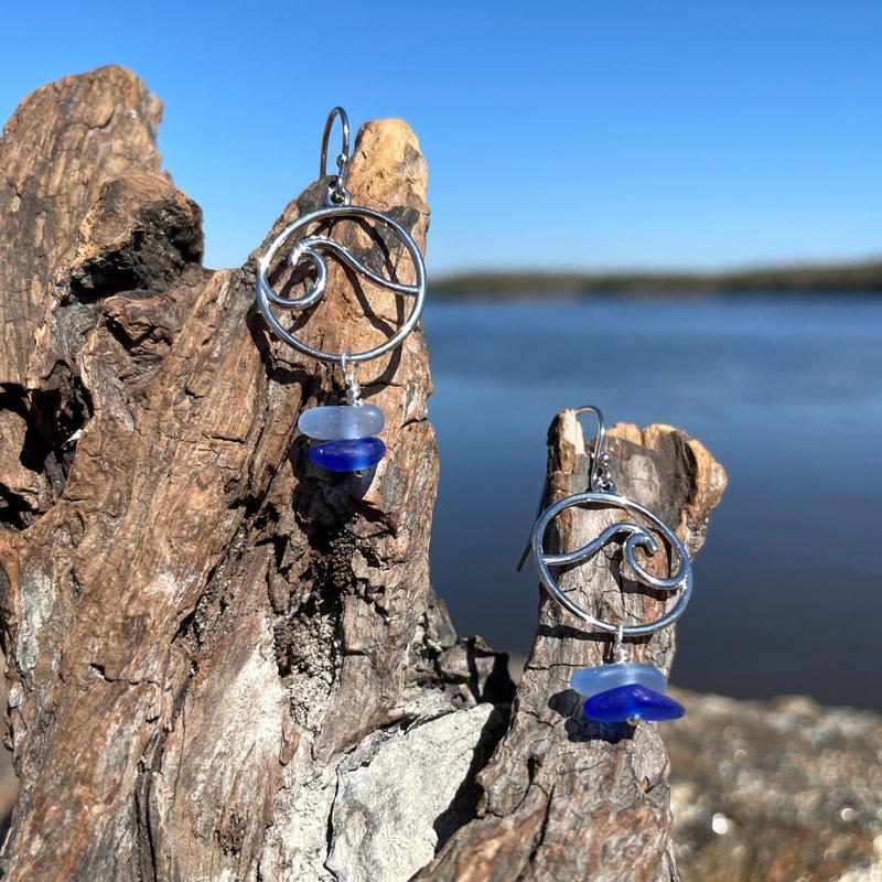 Light Blue & Cobalt Blue Sea Glass Stack Wave Earrings